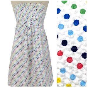 Lilly Pulitzer Dot Seersucker Strapless Dress Sz 4